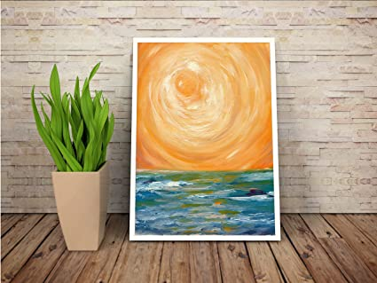 Amazon Com Sunset Seascape Oil Painting On Canvas Paper