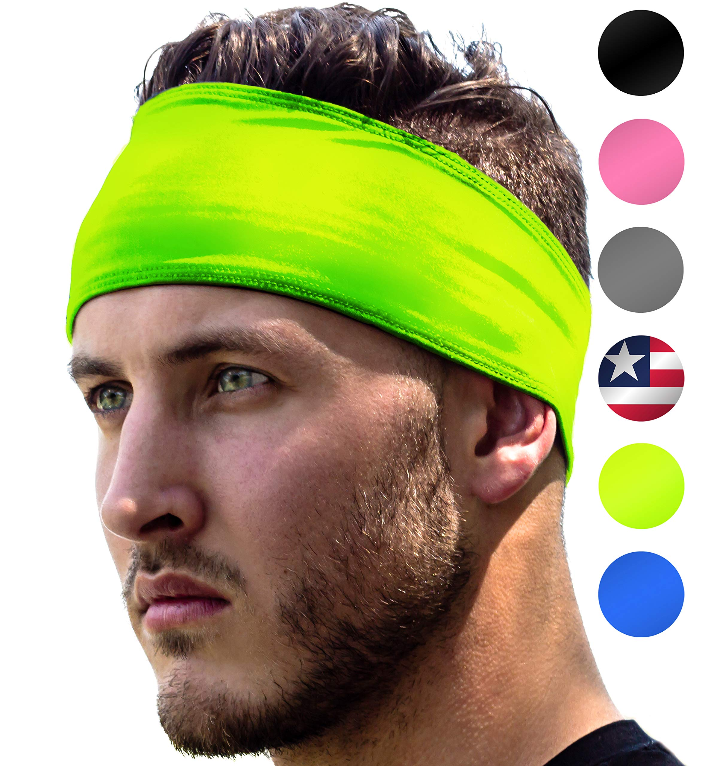 High Visibility Headband: Sport Headbands For Running & Jogging Safety at Night. Fits Women Men Kids. Replace Reflective Gear Vest Jacket Shirt For Bright Visible Sweatband. High-Vis Florescent Yellow by E Tronic Edge