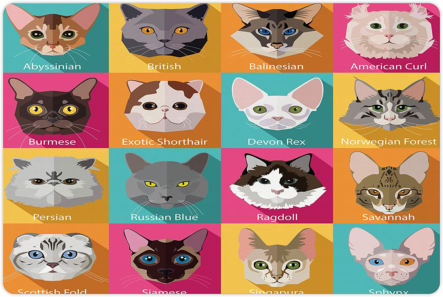 Lunarable Cat Lover Pet Mat for Food and Water, Popular Breeds Abyssinian American Burmese Sphynx Norwegian Forest Scottish Fold, Rectangle Non-Slip Rubber Mat for Dogs and Cats, Multicolor