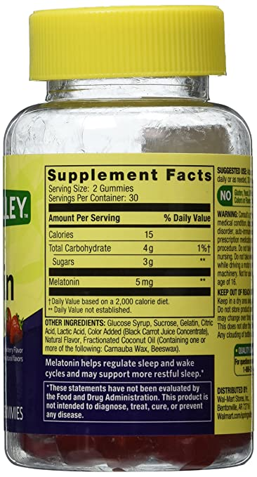 Amazon.com: Spring Valley Adult Gummy Melatonin 5mg - Natural Strawberry Flavor - Single Bottle with 60 Gummies: Health & Personal Care
