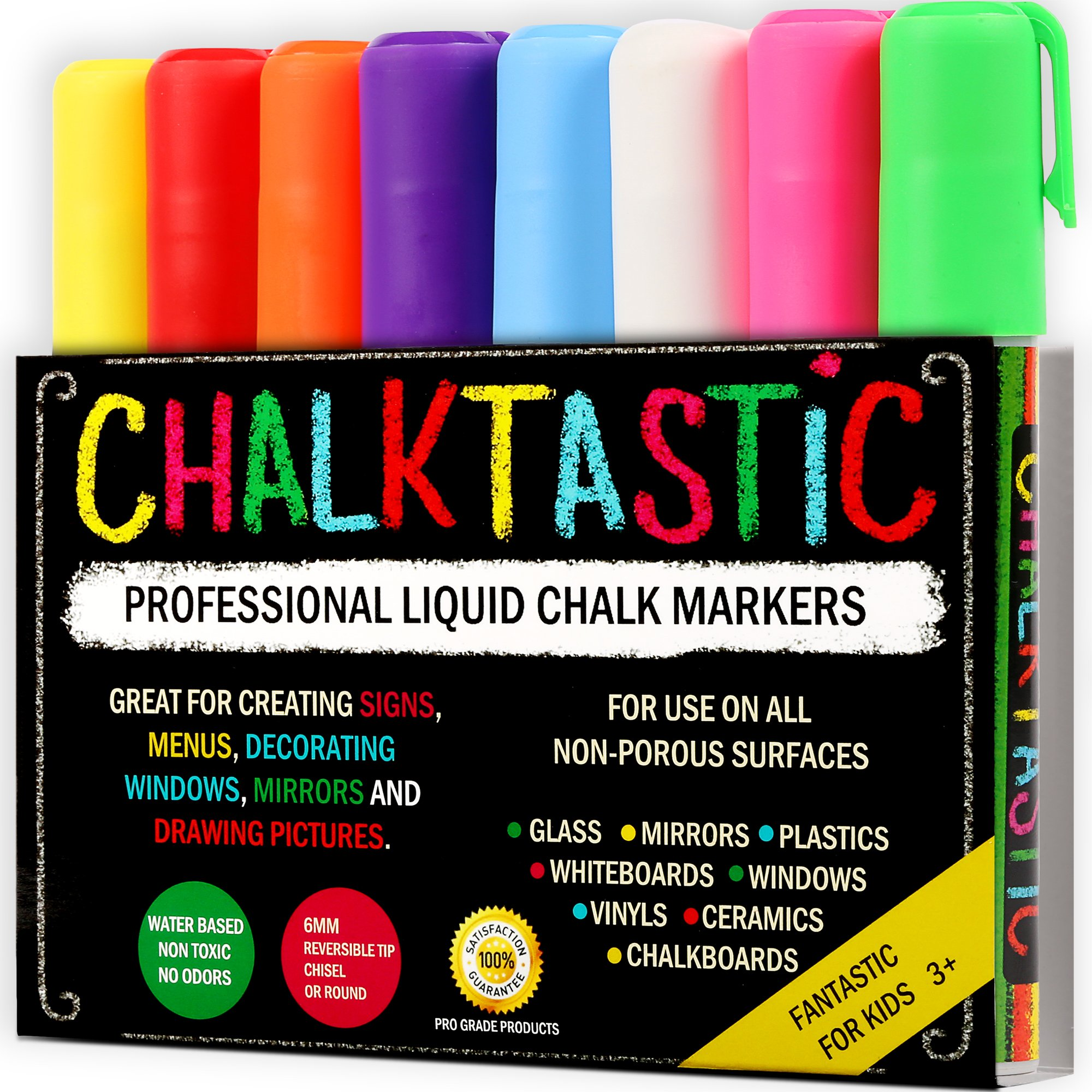 Chalk Markers by Fantastic ChalkTastic Best for Kids Art, Chalkboard Labels, Menu Board Bistro Boards, 8 Glass Window Markers, non-toxic Erasable Liquid Pens Chisel or Fine Tip, Neon Colors plus White by Chalktastic