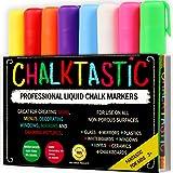 Chalktastic CHALK MARKERS & Pens by FANTASTIC ChalkTastic BEST for Kids Art Menu Board Bistro Boards - 8 Glass & Window Markers & Erasable Pens - Reversible 6mm Fine or Chisel Tip - Bright Neon Colored Plus White