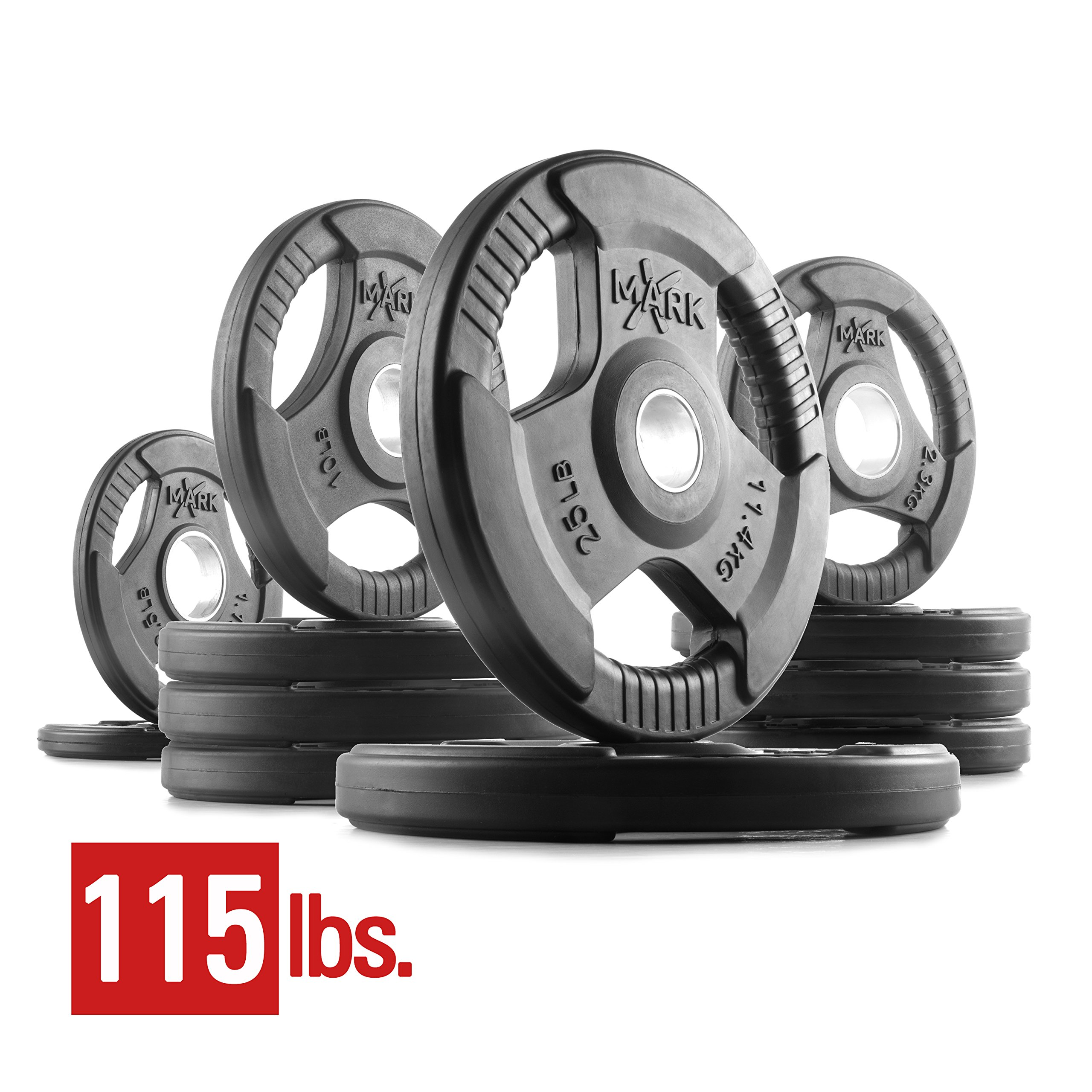 XMark Fitness XM-3377-BAL-115 Rubber Coated Olympic Plates