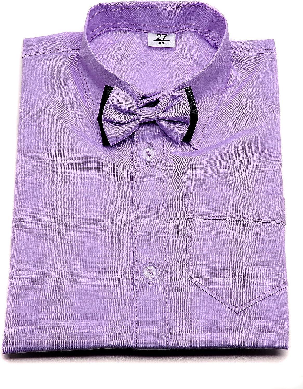 Camisa de vestir para niño violeta con lazo y manga larga. Boda Bautizo Smart fiesta escuela.
