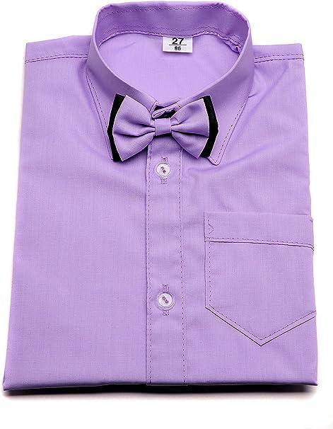 Camisa de vestir para niño violeta con lazo y manga larga. Boda Bautizo Smart fiesta escuela.: Amazon.es: Ropa y accesorios