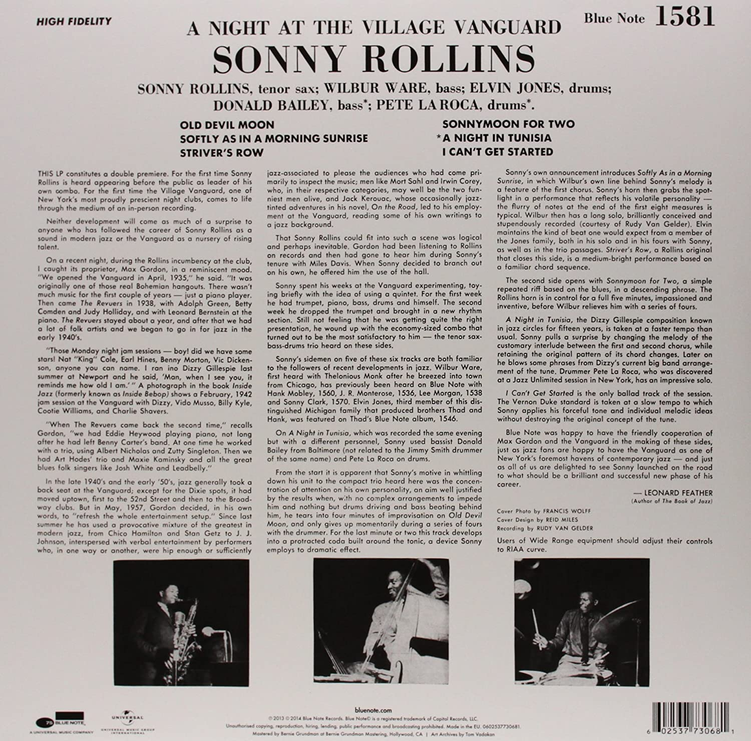 Sonny Rollins  A Night At The Village Vanguard [lp]  Amazon Music