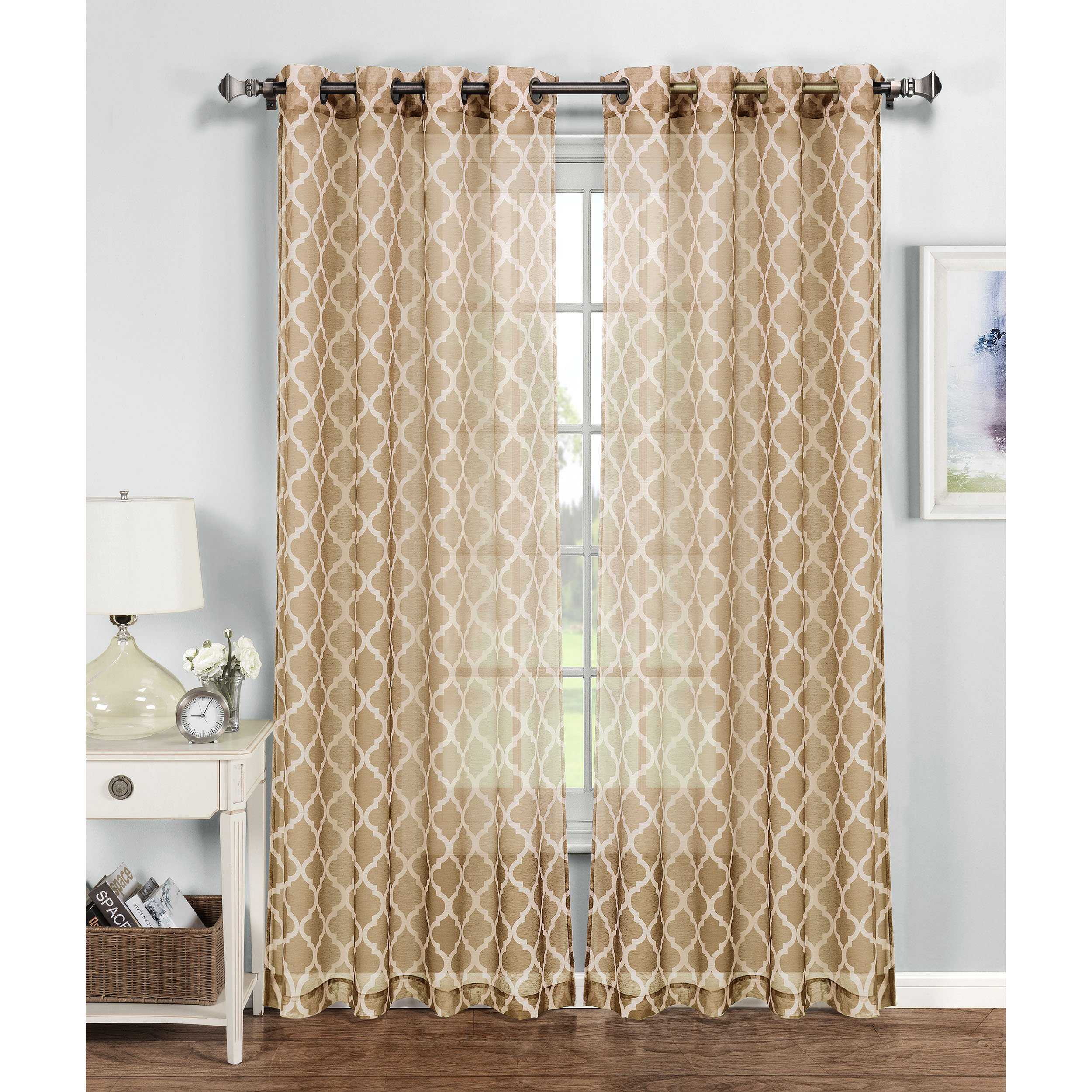 Window Elements Quatrefoil Printed Sheer Extra Wide 54 X 84 In Grommet Curtain Panel