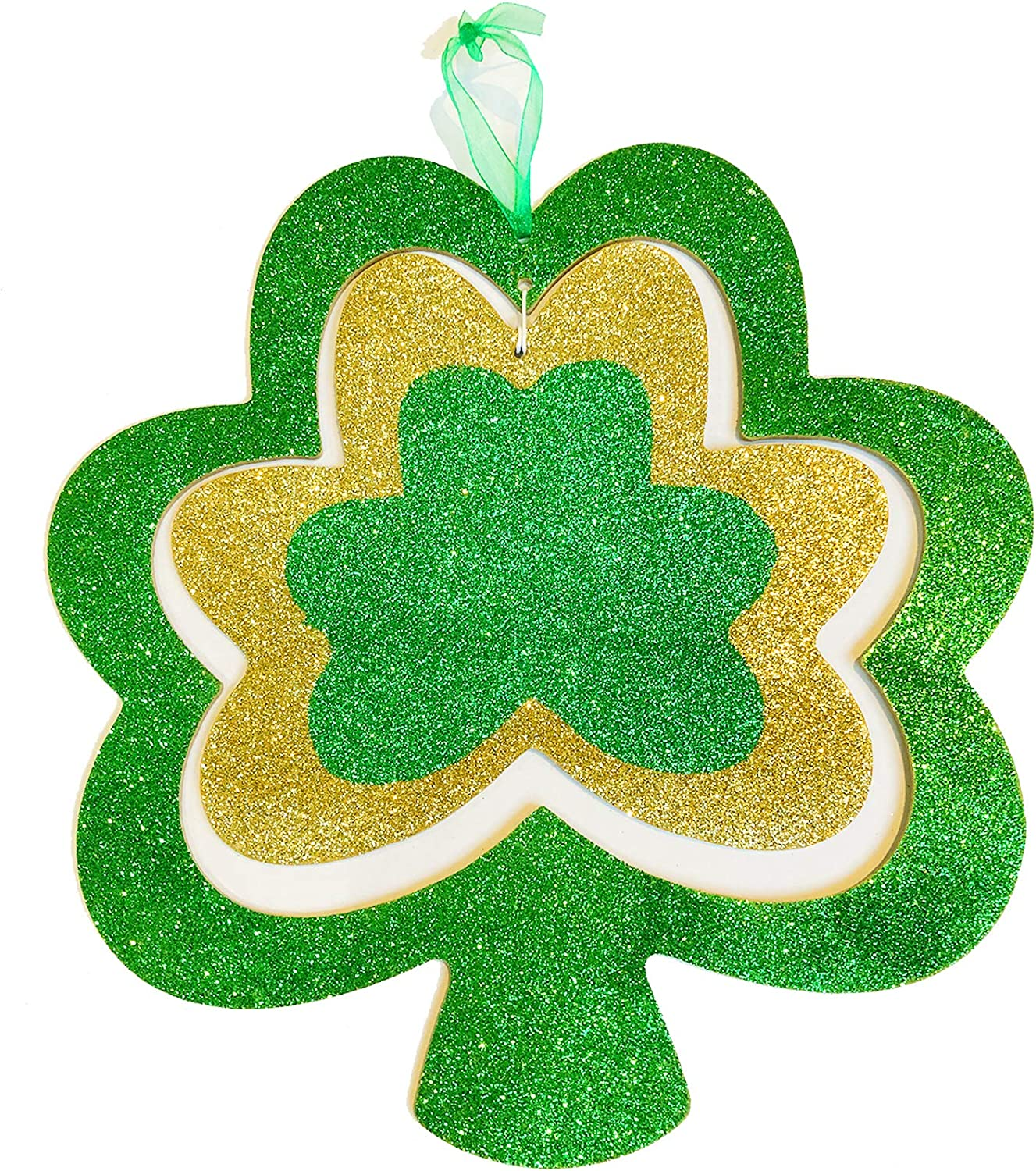 Shamrock Decor Hanging Sign St Patricks Day Decorations for The Home Irish Decor for Front Door Hanger Glitter Wooden Plaque Office Saint Patrick's Day Outdoor Room Wall Art Wood Porch Outside Gold