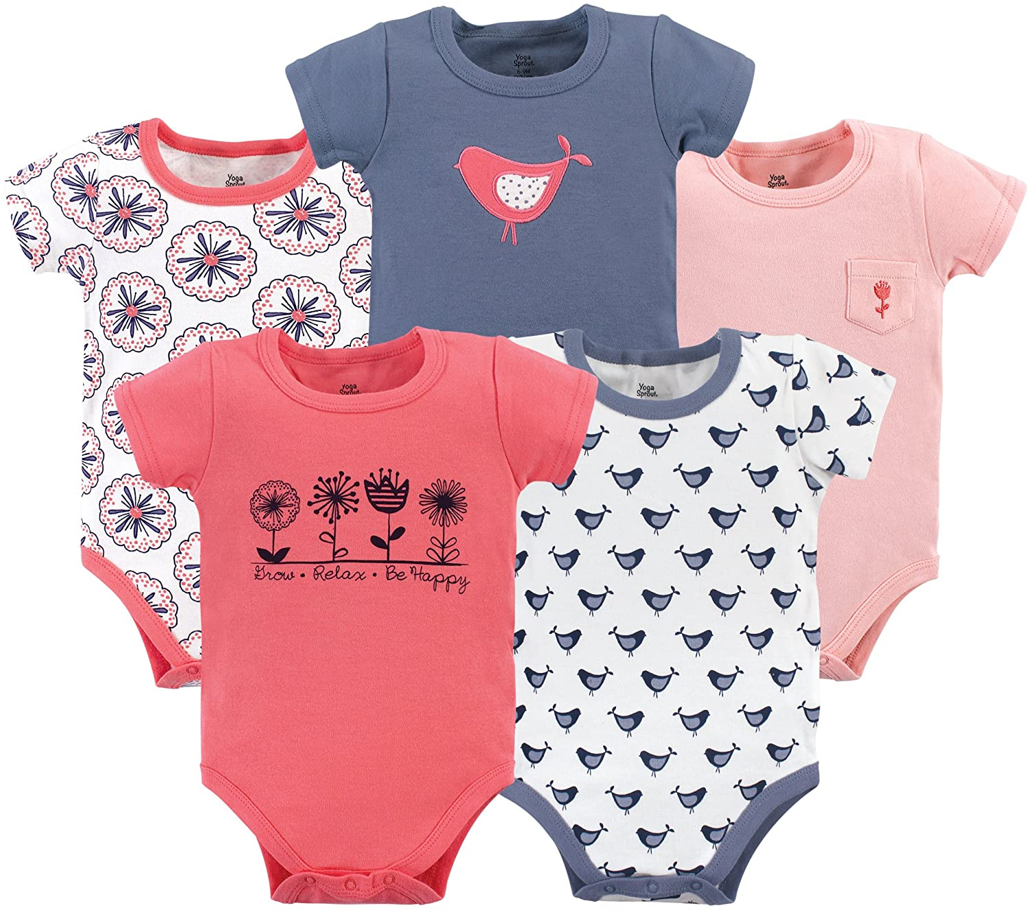 Yoga Sprout Unisex Baby Cotton Bodysuits: Clothing