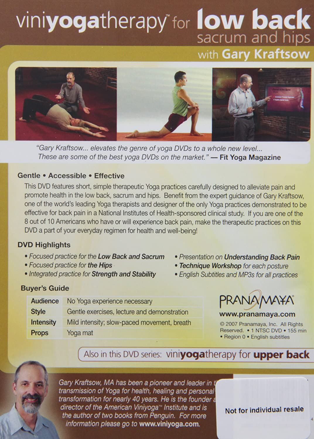 Viniyoga Therapy Complete Back Care Reino Unido DVD: Amazon ...
