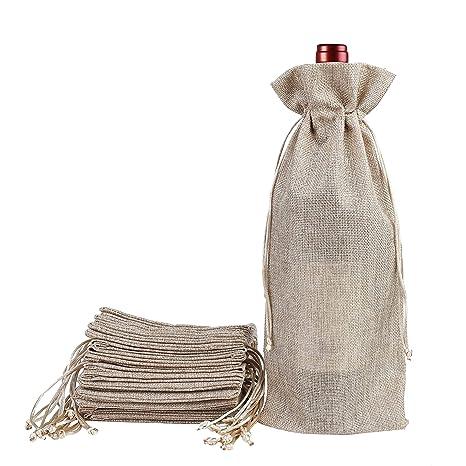 Amazon.com: Bolsas de yute para vino con cordón de arpillera ...
