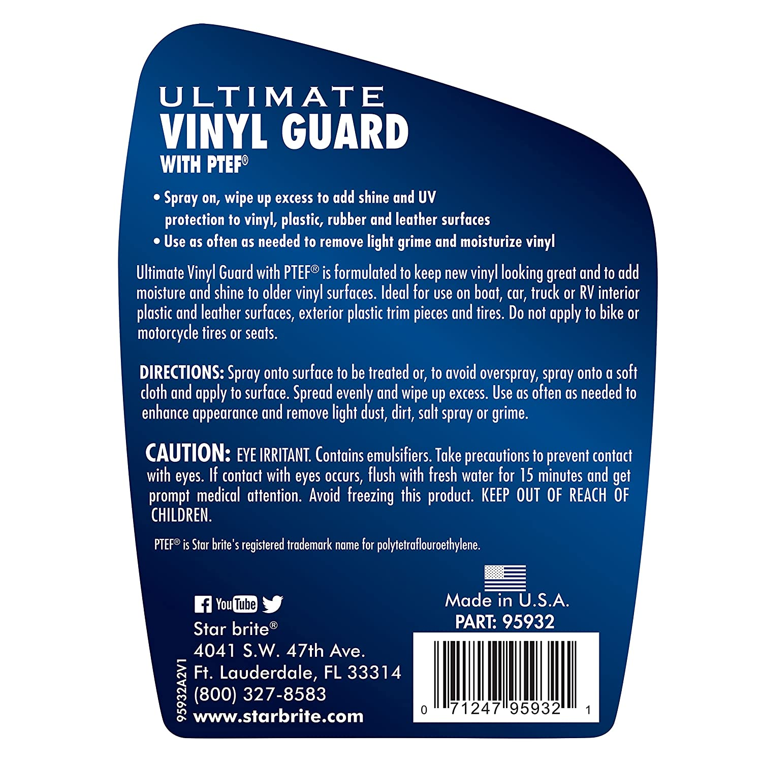 Amazon.com : Star brite Ultimate Vinyl Guard Protectant with PTEF ...