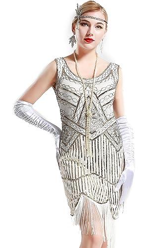 Babeyond Vestito Gatsby Donne 1920s Vestito Anni 20 Donna Flapper Dress 1920s Vestito da Sera Paille...