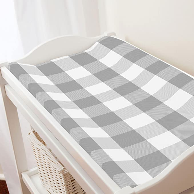 Carousel Designs Gray Buffalo Check Changing Pad Cover Organic 100 Cotton Change Pad Cover Made In The Usa Baby Amazon Com