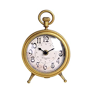 NIKKY HOME Metal Small Vintage Table Clock Decorative With Pocket Watch  Shape Distressed Gold Finish