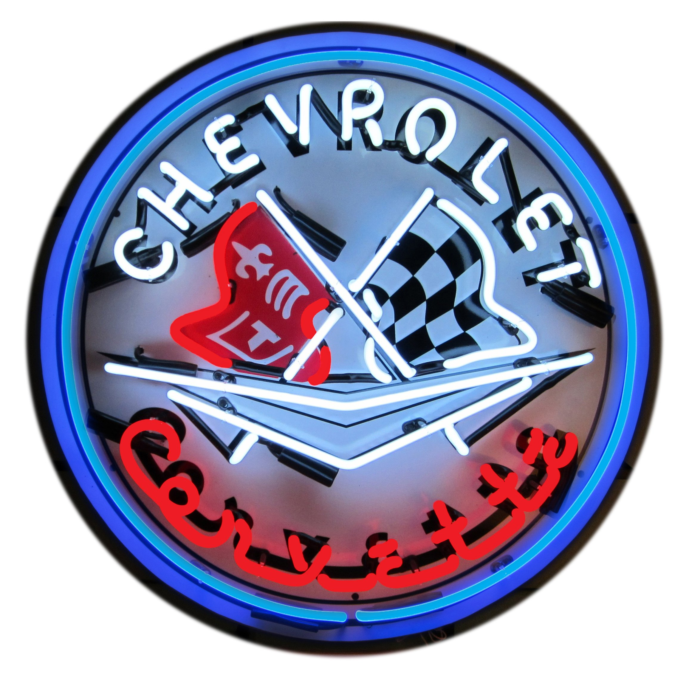 Neonetics 5CORBL Corvette C1 Flags and Blue Ring Neon Sign with Backing