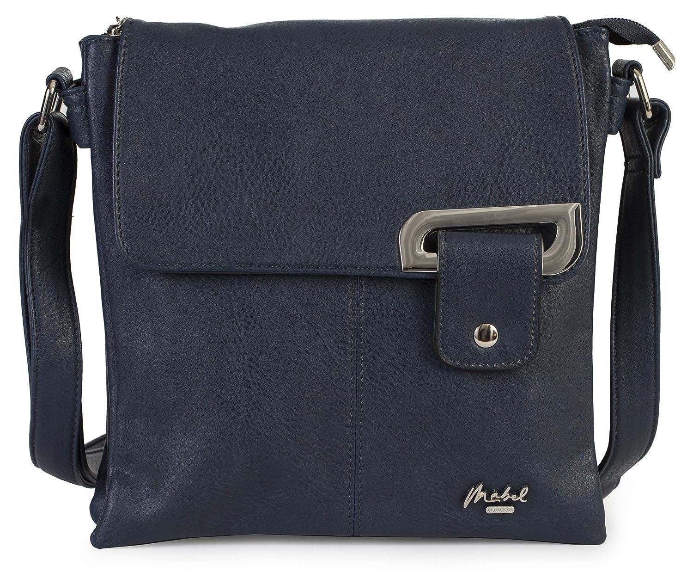 1. Silver Trim  Navy (Mabel) Womens Medium Trendy Messenger CrossBody Shoulder Bag With a Storage Bag  FAITH