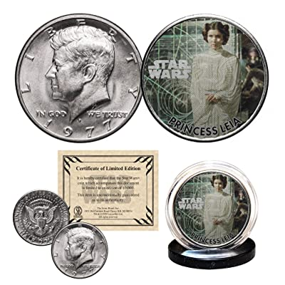 PRINCESS LEIA - STAR WARS Officially Licensed 1977 Kennedy Half Dollar Coin with Certificate: Everything Else