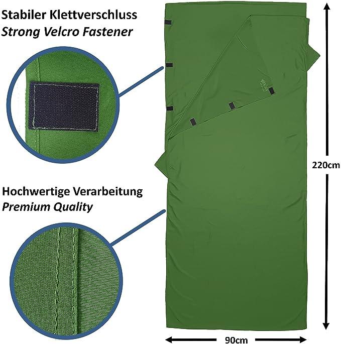 Fit-Flip Saco de Dormir Ligero para el tamaño de Paquete pequeño! Bolsa de Dormir de Microfibra Compartimiento para Almohada Adicional.