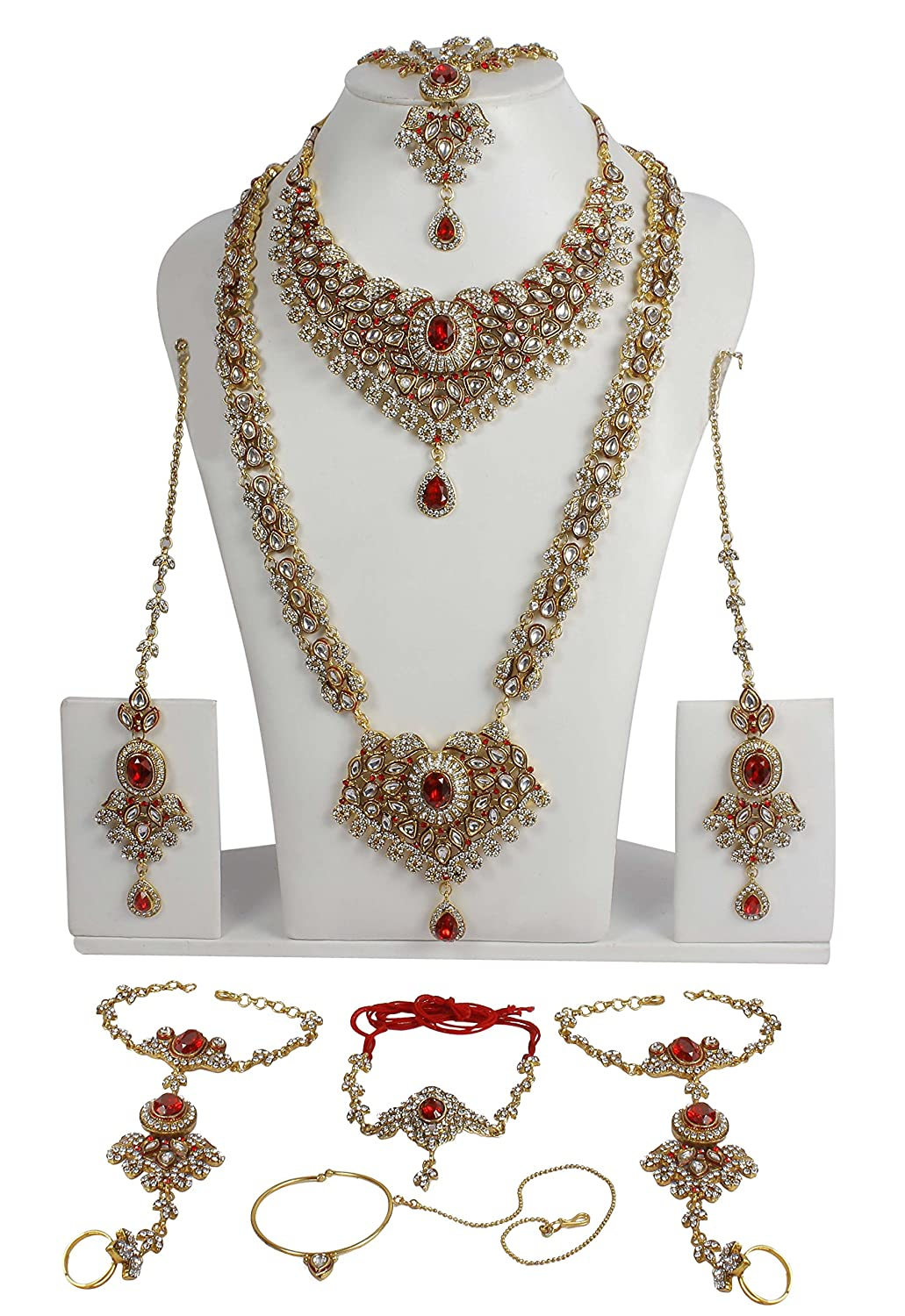 Buy Muchmore White Metal Kundan Bridal Necklace Set For Women ...