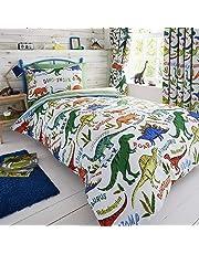 Happy Linen Company Set de Fundas Infantiles para edredón - Reversible - Estampado de Dinosaurios con tiranosaurio Verde - Individual