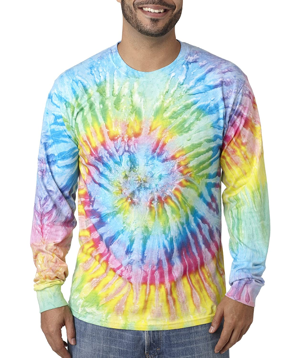 f5e55e8b839f tie dye Adult Tie-Dyed Long-Sleeve Cotton Tee - Saturn - L at Amazon Men s  Clothing store  Athletic T Shirts