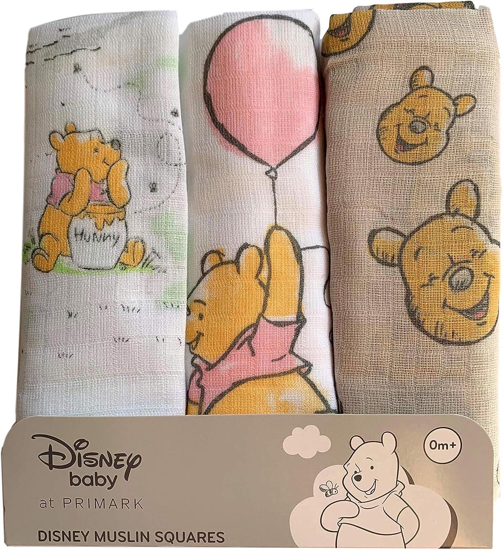Primark Winnie Pooh Disney - Pañales de gasa, 70 x 70 cm, 3 unidades: Amazon.es: Bebé