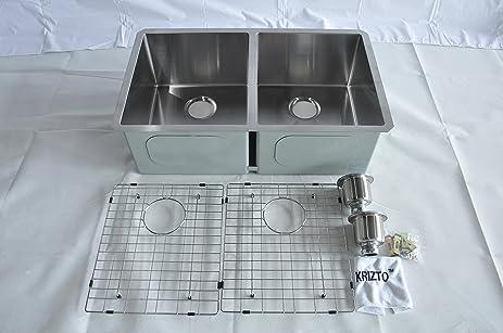 krizto 30 inch undermount double bowl  50 50  16 gauge stainless steel kitchen krizto 30 inch undermount double bowl  50 50  16 gauge stainless      rh   amazon com