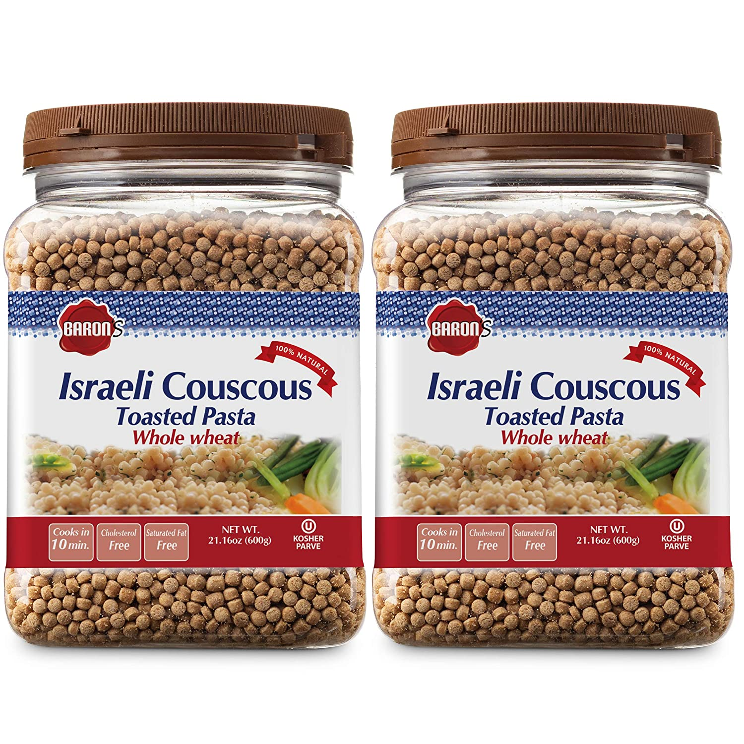 Baron's Israeli Whole Wheat Couscous Toasted Pasta | 100% Natural Pearled Noodles for Soups, Side Dishes & More | Cooks in 10 Minutes! | Kosher | 2 Pack 21.16oz Jars