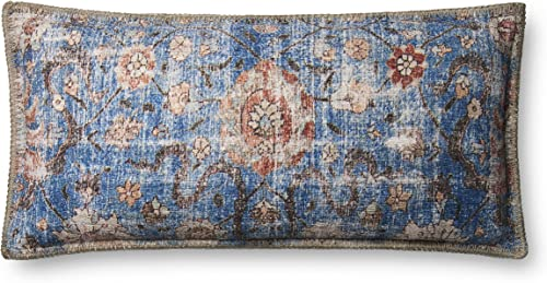 Loloi P0652 Pillow Cover with Poly Fill, 12 x 27 , Blue Multi