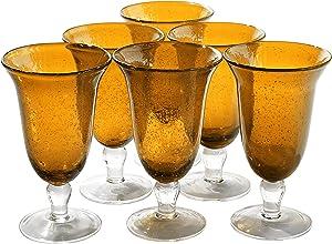 Artland Iris Seeded Amber 18 Ounce Footed Iced Tea Glass, Set of 6