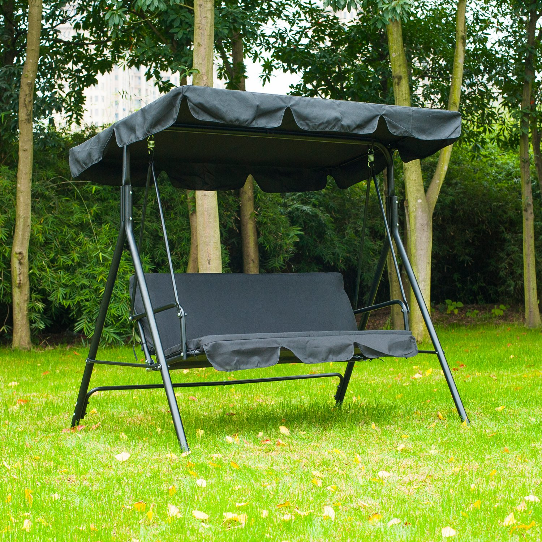 Amazon Outsunny 3 Person Canopy Porch Swing Black Garden