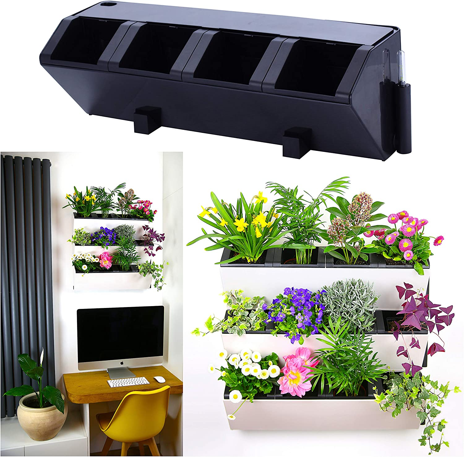 Self Watering Wall Planter by My Easygro Indoor or Outdoor Living Wall Vertical Hanging Planter Urban Garden Herbs Flowers Vegetables Stand Wall or Balcony Mounted Black