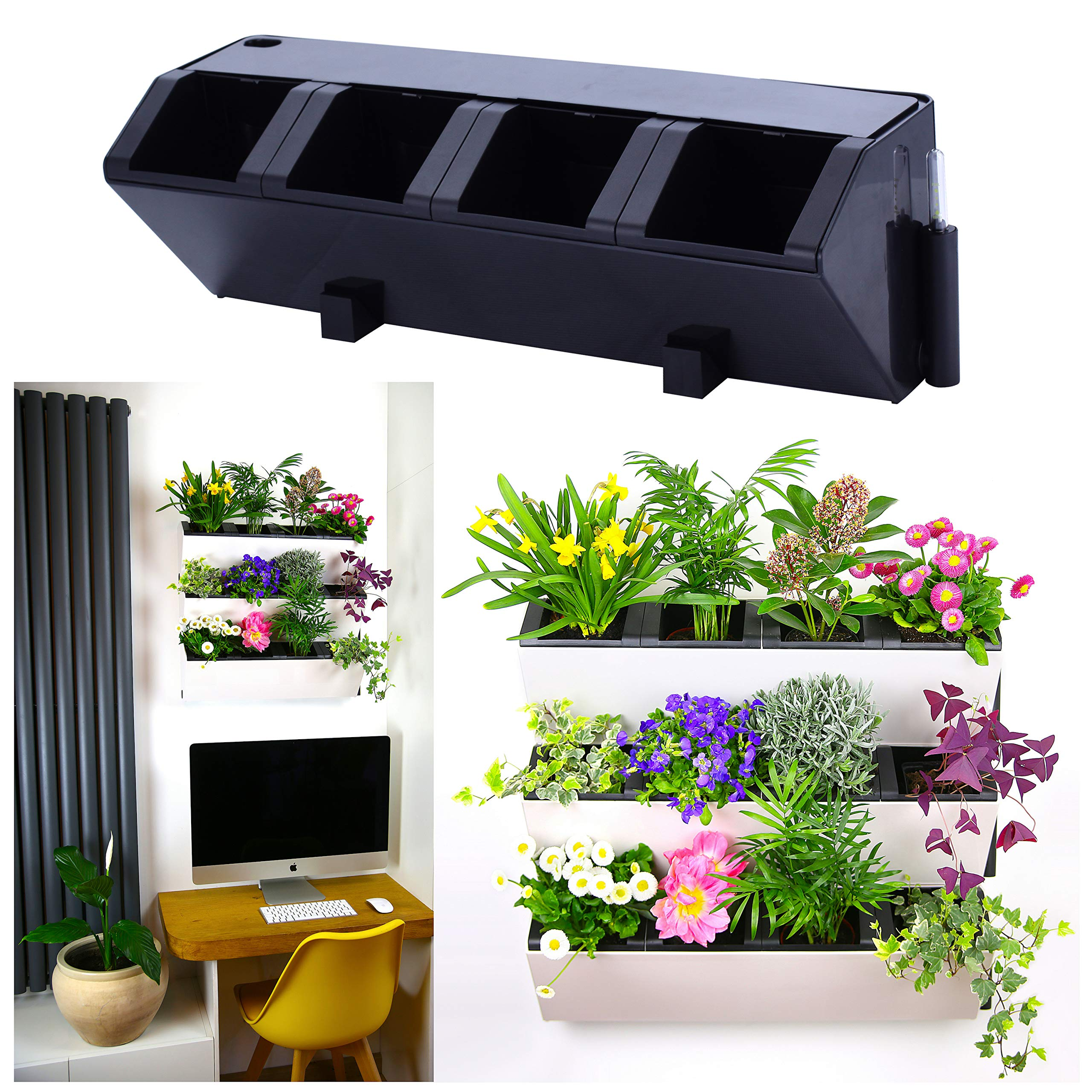 Self Watering Wall Planter by MyEasygro for Indoor and Outdoor | Mounted Hanging Vertical Urban Garden Decor | Green Wall Pots for Flowers, Plants, Herbs, Vegetables, Seeds | 22.5''x7''x7'' (2, Black) by MyEasygro