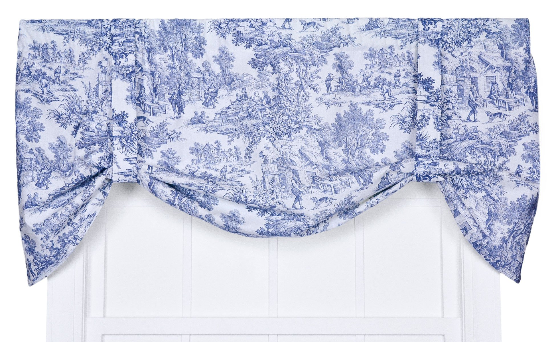 Victoria Park Toile Tie-Up Valence Window Curtain, Blue