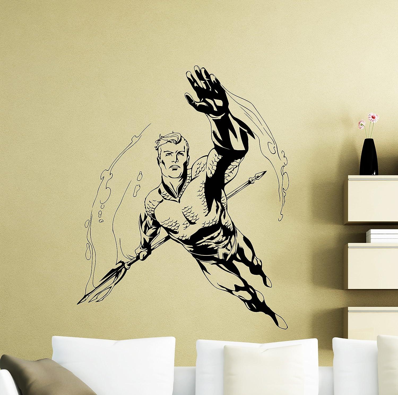 Amazon.com: Aquaman Wall Sticker Superheroes Bathroom Vinyl Decal ...
