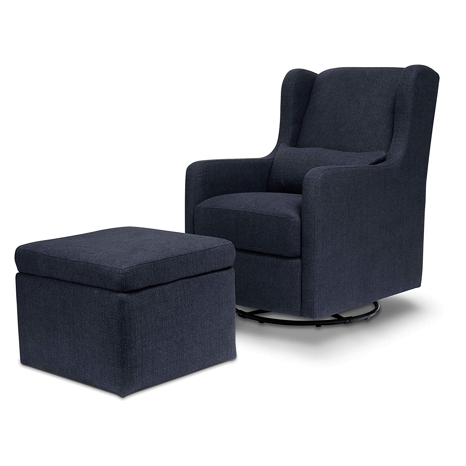 Carter's by Davinci Adrian Swivel Glider with Storage Ottoman in Performance Navy Linen