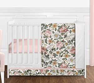 Sweet Jojo Designs Vintage Floral Boho Baby Girl Nursery Crib Bedding Set Without Bumper - 4 Pieces - Blush Pink, Yellow, Green and White Shabby Chic Rose Flower Farmhouse