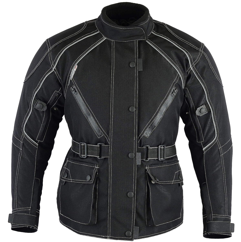 Veste imperm/éable et de Couleur Noire Veste de Moto Thermique pour Femmes Cordura de Australian Bikers Gear Ladies Taille 3/XL