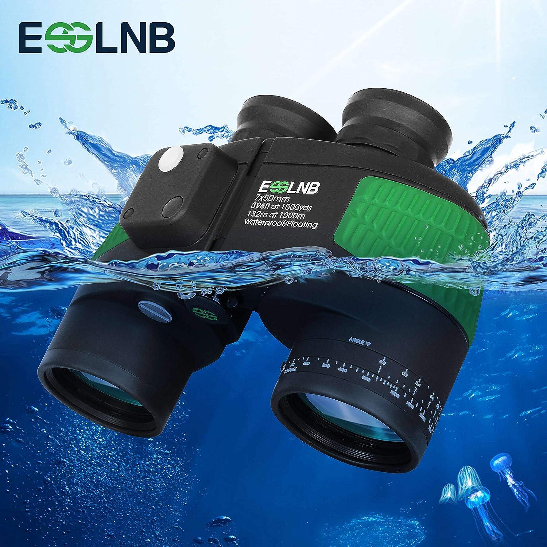 ESSLNB Marine Binoculars with Illuminated Compass Rangefinder 7X50 IPX7 100 Waterproof Military Binoculars for Adults Kids BAK4 FMC Floating Binoculars for Boating Hunting w Bag and Floating Strap
