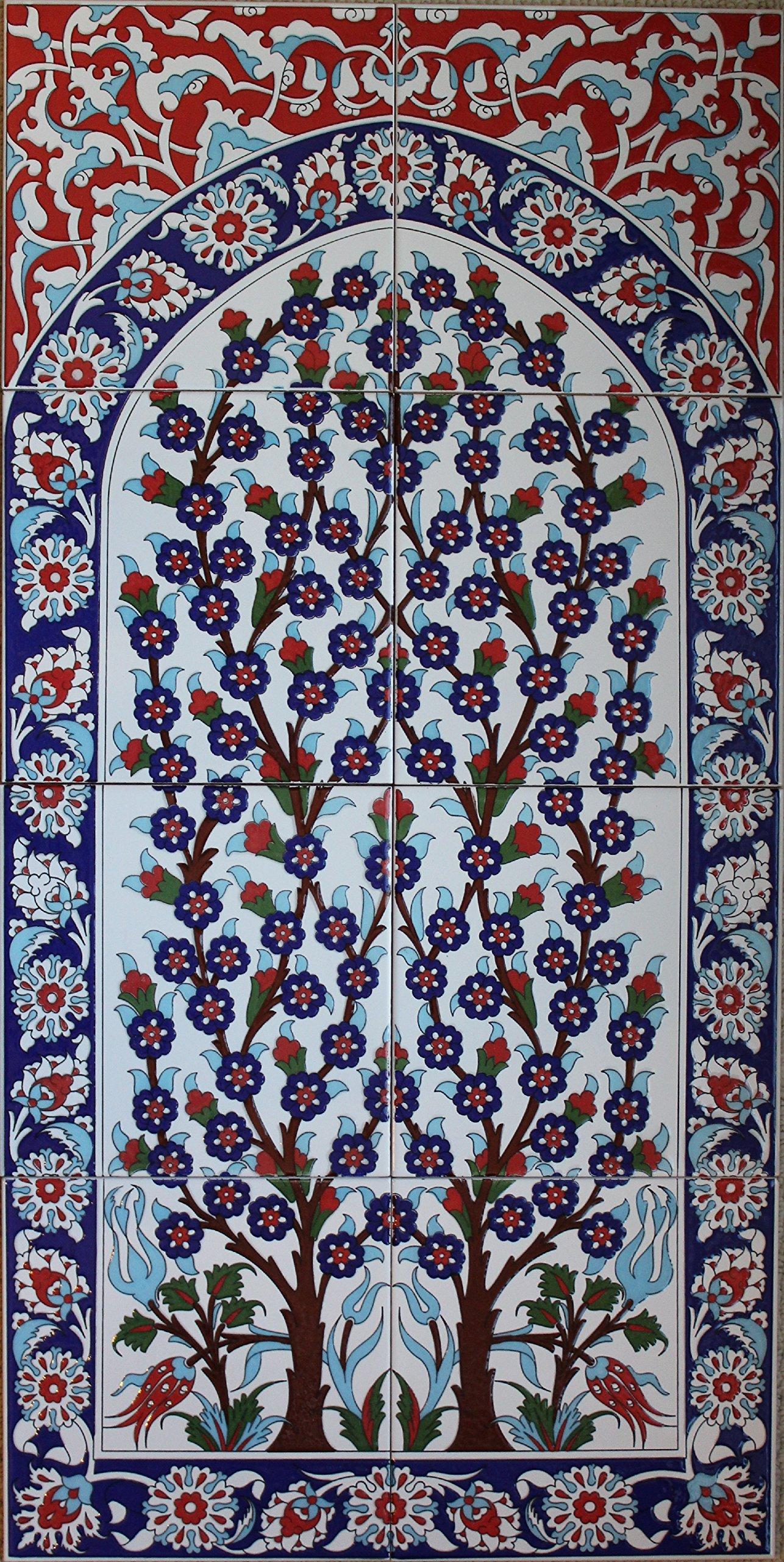 16''x32'' Hand-pianted Turkish Iznik Tree of Life Pattern Ceramic Tile Mural Panel