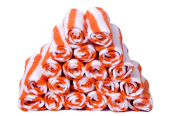Skumars Love Touch 20 Piece 300 GSM Cotton Face Towel Set   White and Orange