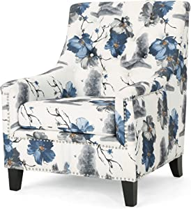 Christopher Knight Home Paul Fabric Tufted Club Chair, Print, Gray