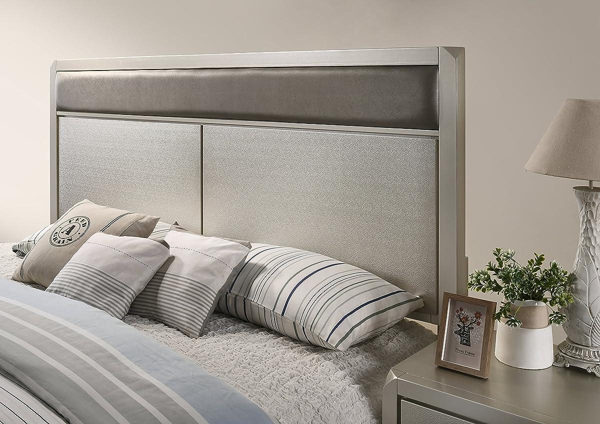 Roundhill Furniture B480QDMN2C Keila Contemporary Wood Bedroom Set, Queen Bed, Dresser, Mirror,2 Nightstands, Chest, Champagne Silver