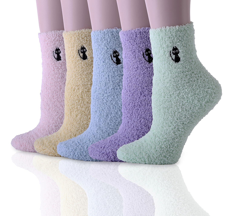 HapiLeap 5 Pairs Women Super Soft Microfiber Fuzzy Slipper Socks Winter Warm Crew Home Socks HapiLeap-003-1