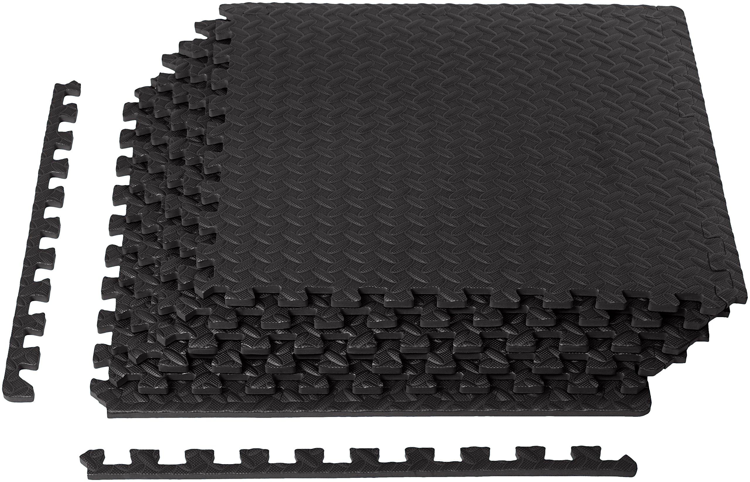 AmazonBasics EVA Foam Interlocking Exercise Gym Floor Mat Tiles - Pack of 6, 24 x 24 x .5 Inches, Black