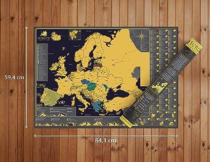 Póster de mapa de Europa para rascar – Hermoso mapa de rascar de ...