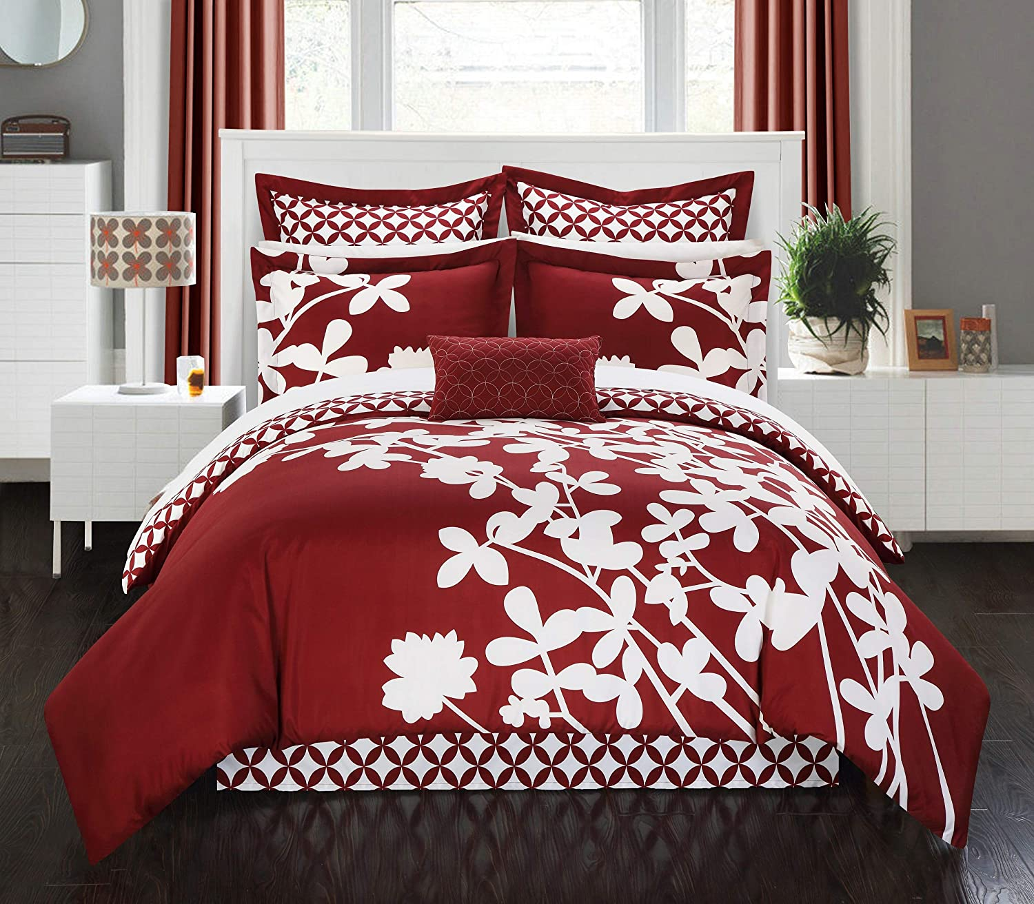 Chic Home 7 Piece Iris Reversible Large Scale Comforter Set, King, RED