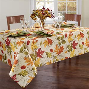 """Elrene Home Fashions Autumn Leaves Printed Fabric Tablecloth for Fall/Harvest/Thanksgiving, 60""""x120"""" Oblong/Reactangle, Multi"""