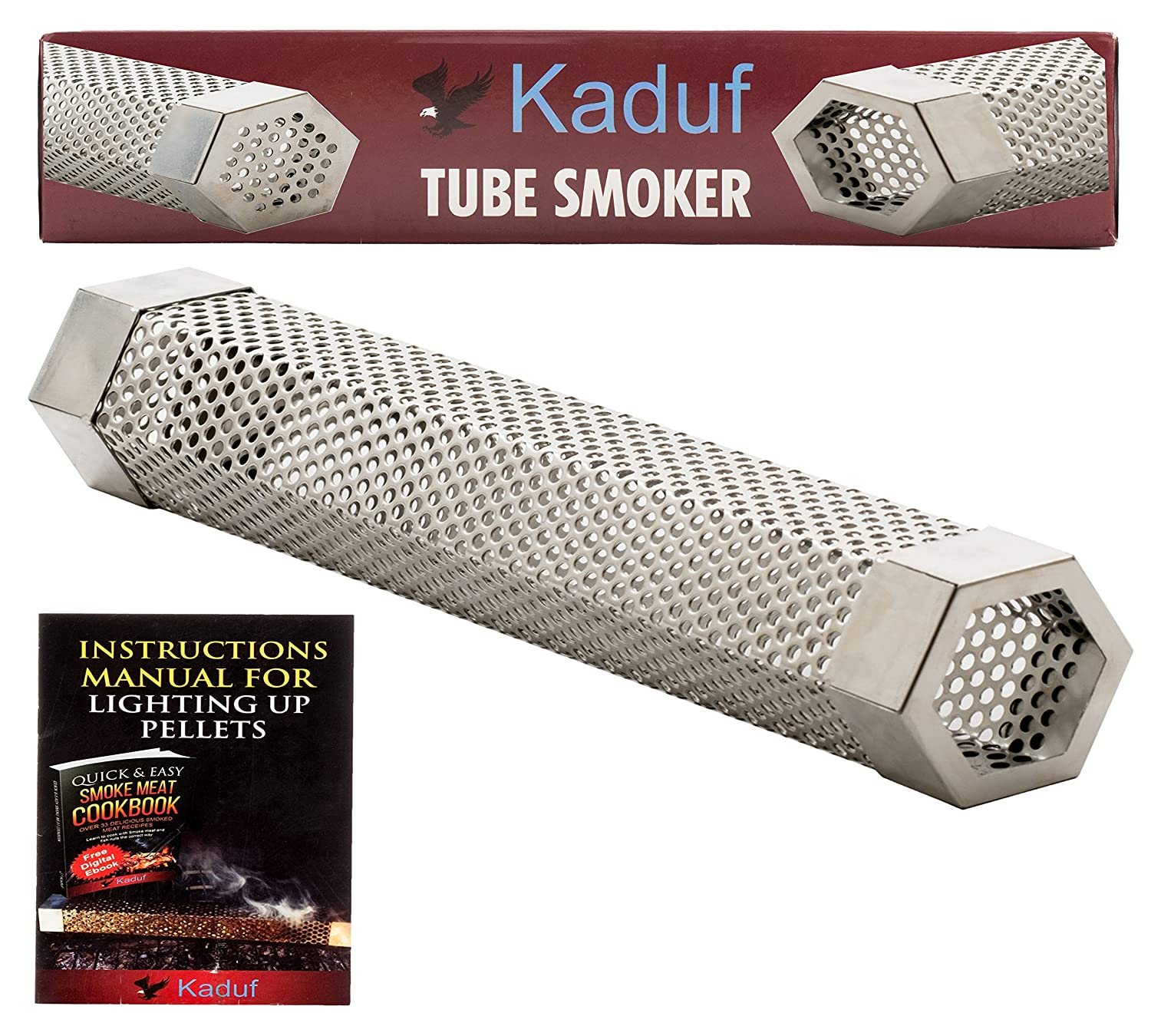 "Kaduf Pellet Tube Smoker 12"" For Bbq, Hot & Cold Smoking For Any Smokers Or Grill, Charcoal, Gas, Electric - Filled With Pellets Can Provide Smoke for 4h - 12 Inch Stainless Steel Hexagonal Shape"